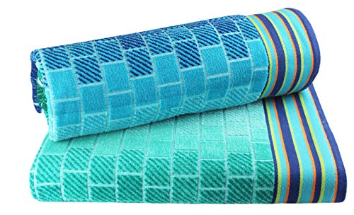 Cotton Craft - XL Jacquard Woven Velour Beach Towel - 39x68 inches - 100% Cotton - Blue Tile