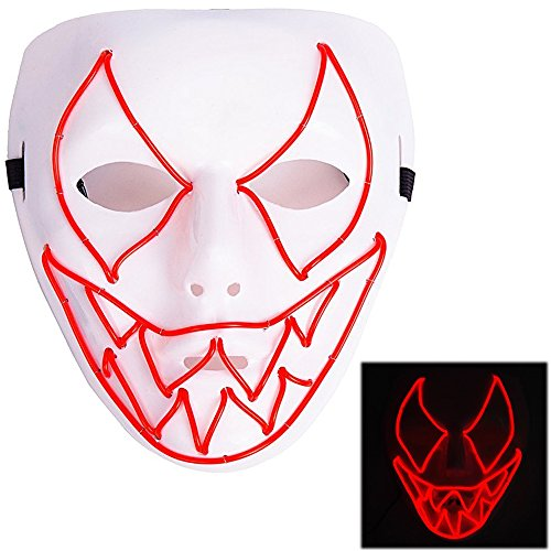 Ansee Frightening Luminous EL Wire Led Mask Halloween Light Up Cosplay Mask Costume Masks for Halloween Show Festival Party Red -