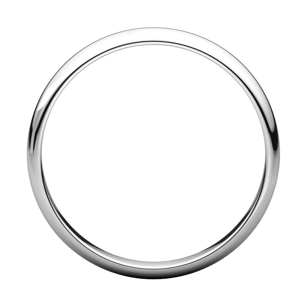 Size 9.5 Bonyak Jewelry 18k White Gold 3 mm Half Round Lightweight Band