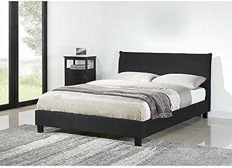 Cesar cama somier 140 x 190 cm, diseño de gamuza, color negro ...