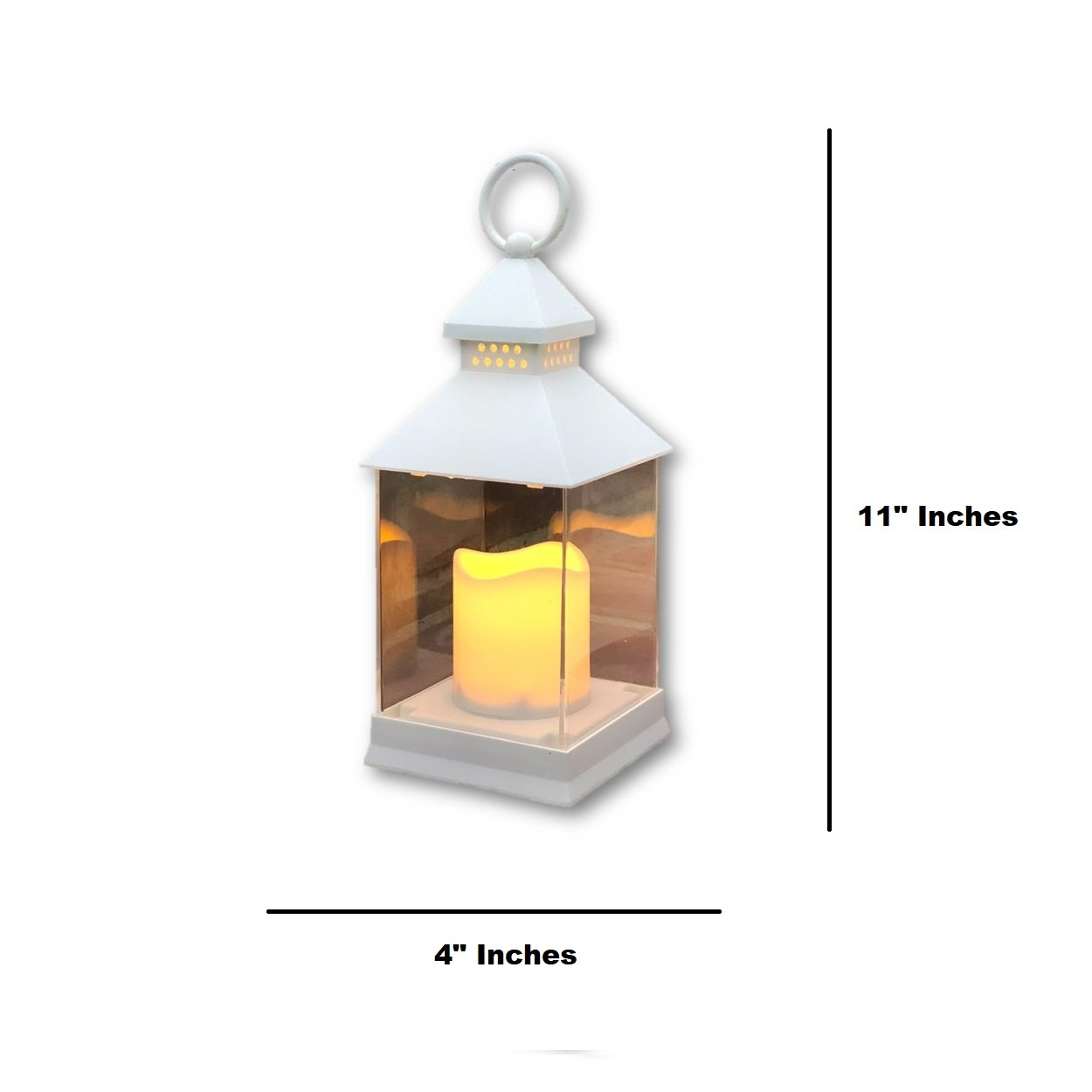Just In Time for Spring {12 Pc SET} - 10'' Decorative Lanterns With Flameless LED Lighted Candle 5 Hr Timer Modern Look Indoor Outdoor Home, Garden, Weddings - Includes Bonus String Lights! White. by The Nifty Nook (Image #5)