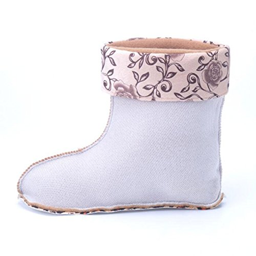 Ankle JOMNM Purple Plush Slip Shoe Non Cover Wellies Boots Short Rubber Warm Wellington Length Women's Half grpXgq