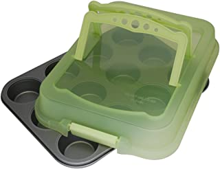 product image for G & S Metal Products Company Ovenstuff Nonstick Muffin Bakeware Pan with Lid Cover With Handles, 12-Cup, Spring Green