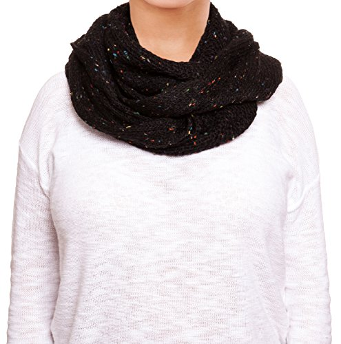 Chatties Fleck Knit Infinity Scarf (Black)