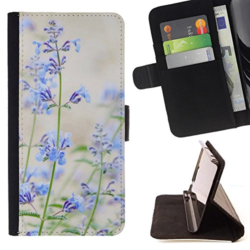 God Garden - FOR Apple Iphone 6 PLUS 5.5 - Blue Small Flowers - Glitter Teal Purple Sparkling Watercolor Personalized Design Custom Style PU Leather Case Wallet Fli