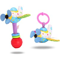 Docooler 2Pcs Pull-Down Stroller Toy + Hand Bell Baby Rattle Toys Car Seat Crib Bed Pram Plush Hanging Rattle Airplane