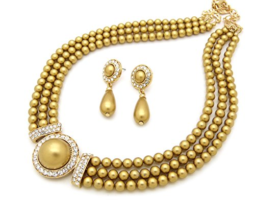 Women's 3 Rows Rhinestone Trimmed Simulated Pearl Statement Necklace and Earrings Set (Gold)