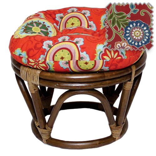 (18-Inch Bali Rattan Papasan Footstool with Cushion - Print Outdoor Fabric, Alenia Pompeii - DCG Stores Exclusive )