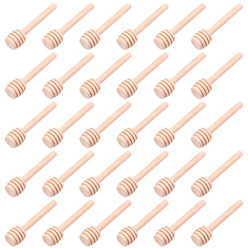 (30 PCS Mini Wood Honey Dipper Sticks, 3 Inch Server for Honey Jar Dispense Drizzle Honey)