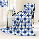vanfan Soft Warm Cozy Throw Blanket White Conceptual Cultural Nature Design Arabian Flower Decorations Light Blue White Apricot,Silky Soft,Anti-Static,2 Ply Thick Blanket. (62''x60'')