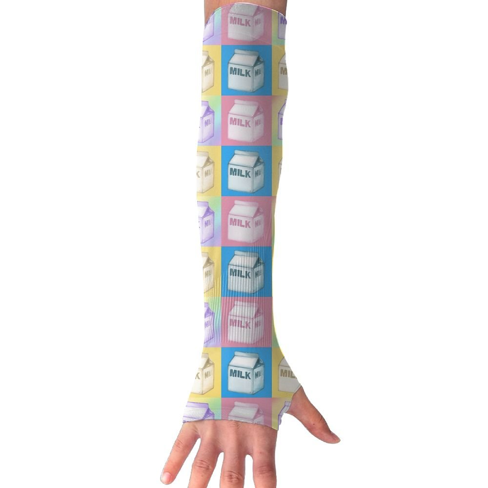 Unisex Milk Cartons Sunscreen Outdoor Travel Arm Warmer Long Sleeves Glove