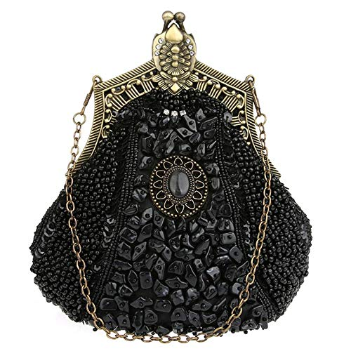 Made Women EDLUX Magnetic 20cm Bag Beads Shoulder Black for Buckle Polyester Black 8 Cheongsambag with Ladies 18 of Handbag pqrwqzd8