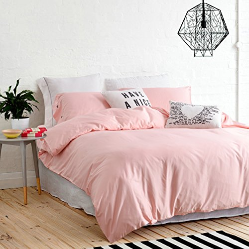UFO Home 300 Thread Count 100% Cotton Sateen Light Pink Solid Color Pretty Girly Type 4pc Duvet Cover Set Full/Queen Size (Queen size, Pink)