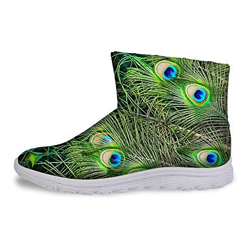 Pour Vous Les Conceptions De Mode Femmes Hiver Chaud Slip Sur Talon Plat Courtes Bottes De Neige Chaussures Étanches Vert