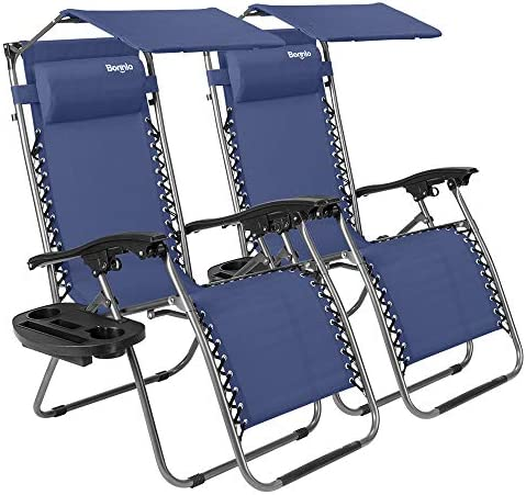 Bonnlo 2 PCS Zero Gravity Chair with Canopy Patio Lounge Chair, Adjustable Folding Shade Reclining Chairs with Cup Holder and Headrest for Beach Garden, Pack of 2 Blue