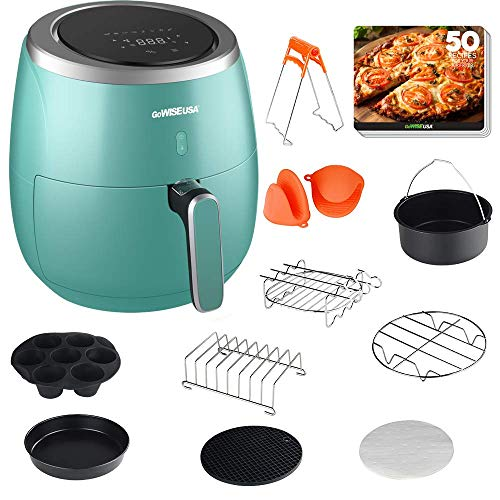 GoWISE USA Air Fryer, 5.3-Quarts Electric Air Fryer with 10 Piece Accessory Set, 8 Cooking Presets, 60 Minute Timer, LED Touchscreen + 50 Recipes, Mint