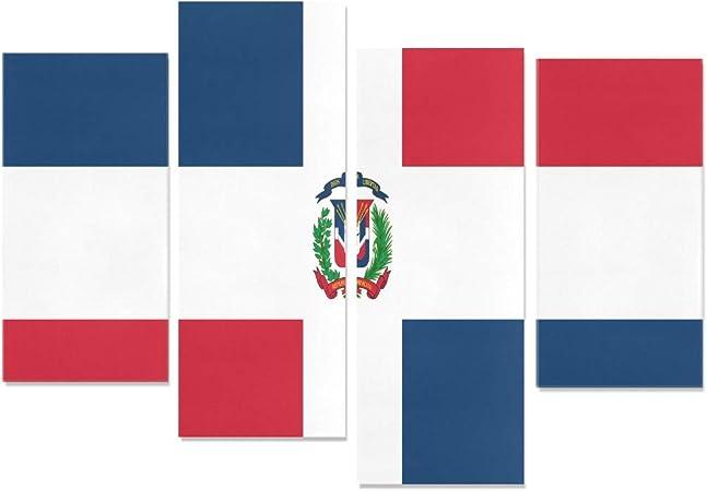 WDDHOME 4 Piezas DIY Pintura de Pared República Dominicana Bandera Lienzo impresión para niñas sin Marco Sala de Estar Oficina Hotel decoración del hogar Regalo: Amazon.es: Hogar