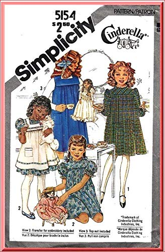 - Simplicity 51584 Girls Cinderella Pullover Dress and Pinafore or Jumper with Transfer for Embroidery Vintage Sewing Pattern