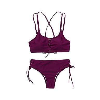 28f73e145c Femme Bikini CIELLTE Solide Maillots de Bain Bandage Ensemble de Bikini  Push-up Soutien-Gorge Rembourré Mayo de Bain Plage Piscine Bathing  Beachwear Deux ...
