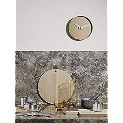 Blomus Rim Wall Clock 40.5cm/16in Tan Face/Nomad Brown Rim