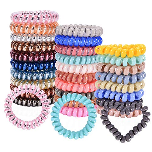 Spiral Hair Ties, Coil Hair Ties, Hair Coils, Phone Cord Hair Ties, Scrunchies for Hair - (28 Pcs, Mix Colors and Styles,Assorted 1) (Dryer Coiled Cord Hair)