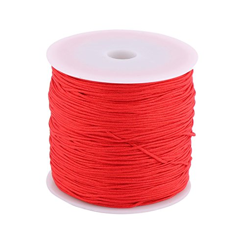 uxcell Nylon Home DIY Craft Braided Chinese Knot Bracelet Cord String Rope 110 Yards Red (Shamballa Rope)