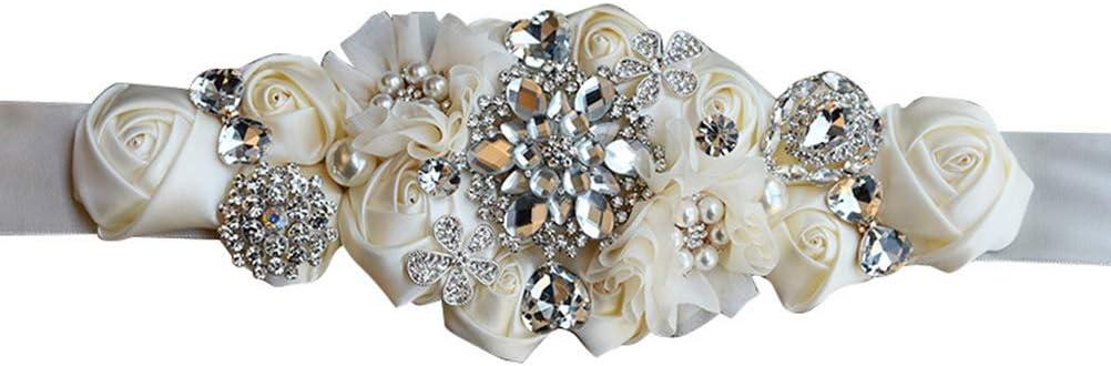 Beige 260 x 9 x 3cm Cintur/ón para Vestido de Novia con Perlas y Diamantes de imitaci/ón Amosfun