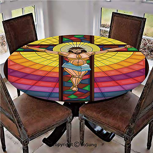 Elastic Edged Polyester Fitted Table Cover,Stained Glass Style Colorful Illustration of Spiritual Scene Artistic Display,Fits up 45