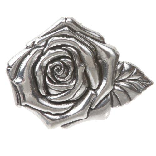 3D Rose Belt Buckle Color: Sterling Silver