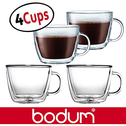Bodum Bistro 15.2-Ounce Double Wall Glass, Espresso Coffee Cups Mugs - Clear (Set of 4 ()