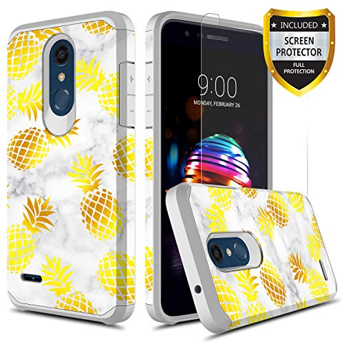 GORGCASE LG K30 Case, LG K10 2018 Case, LG Premier Pro LTE, LG Harmony 2 with Screen Protector, Slim Cute Shockproof Hard TPU Girls Women Men Armor Protective Cover for LG Phoenix Plus Pineapple by GORGCASE (Image #1)