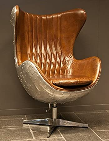 Hochwertig Casa Padrino Art Deco Egg Chair Drehstuhl Sessel Aluminium/Echt Leder Braun    Club Sessel