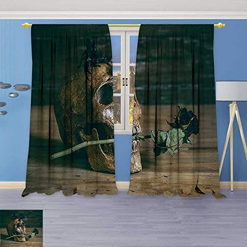 Price comparison product image Philiphome Embossed Thermal Weaved Grommet Blackout Curtains Collection Still Life Skull and Rose Periods with a Scorpion on The Head Blocks up to 80% of Sunlight- Premium Draperies