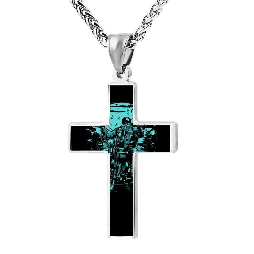 Kenlove87 Patriotic Cross Biker Ride Religious Lord'S Zinc Jewelry Pendant Necklace
