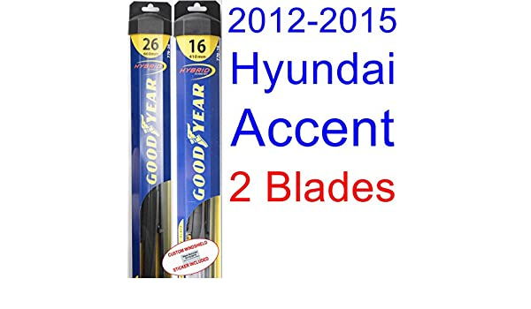 Amazon.com: 2012-2015 Hyundai Accent Replacement Wiper Blade Set/Kit (Set of 2 Blades) (Goodyear Wiper Blades-Hybrid) (2013,2014): Automotive