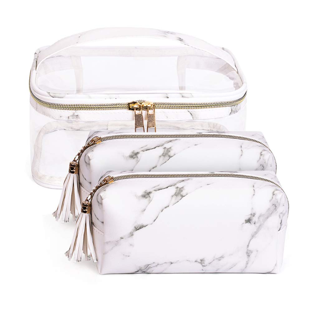 Waterproof Travel Portable Cosmetic Bag Set 3pcs -1 Clear Makeup Bag with Metal Zipper & 2 Marble Toiletry Pouch With Handle Strap Storage for Women/Girls/Lady