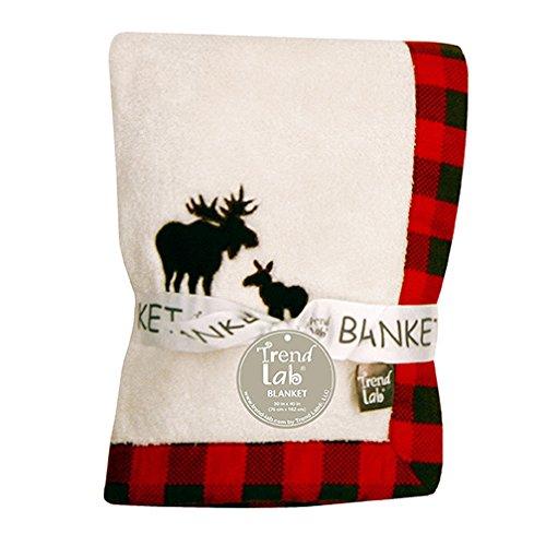 Trend Lab Northwoods Moose Framed Fleece Baby Blanket