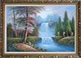 "Framed Oil Painting 24""x36"" Double Cascade Waterfalls With Autumn Trees Landscape Naturalism Ornate Frame"