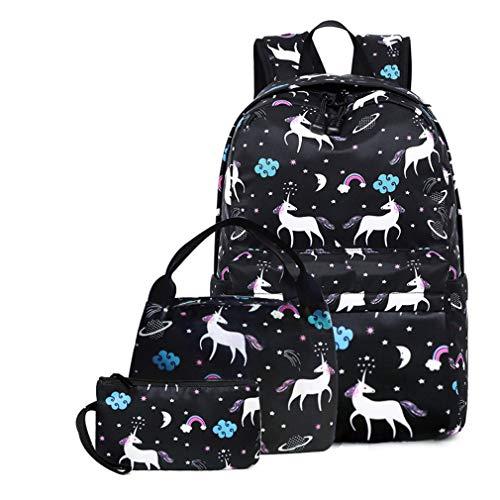 3Pcs Women Unicorn Backpacks Lady Travel Laptop Bags Teenager Girls School Bag