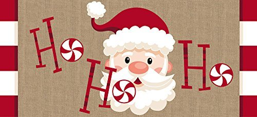Evergreen Flag Santa Ho Ho Ho Decorative Mat Insert, 10 x 22 inches (Mats Xmas Door)