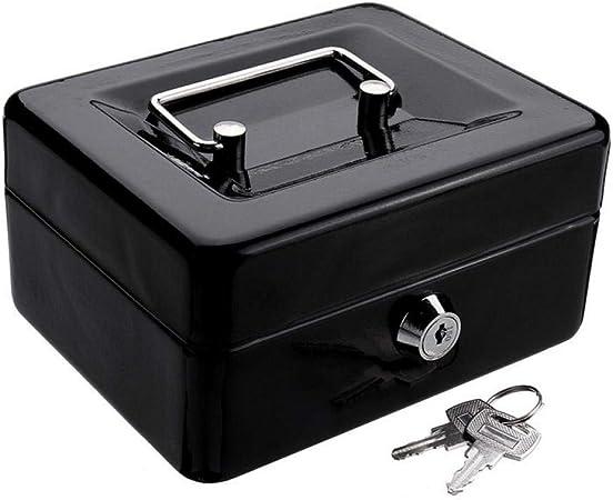 PiniceCore Mini Black Metal en Acier Inoxydable Tirelire Coffre-Fort pour largent Coin tr/ésorerie Plateau avec cl/é secr/ète Cash Drawer Carry Box