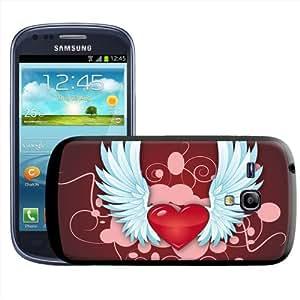 Fancy A Snuggle - Carcasa rígida para Samsung Galaxy S3 Mini i8190, diseño de corazón con alas