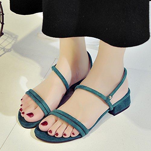 RUGAI-UE Las mujeres Ferret sandalias de verano Zapatos Zapatos de moda cinturón grueso Green