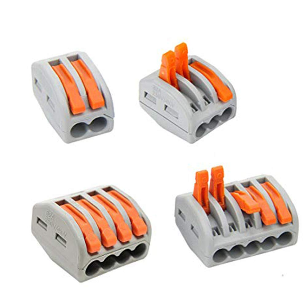 Lever-Nuts 3 Conductor Combination Compact Wire Connectors 3 Port Fast Connection Terminal 28-12 AWG Suitable for Multiple Types of Wires