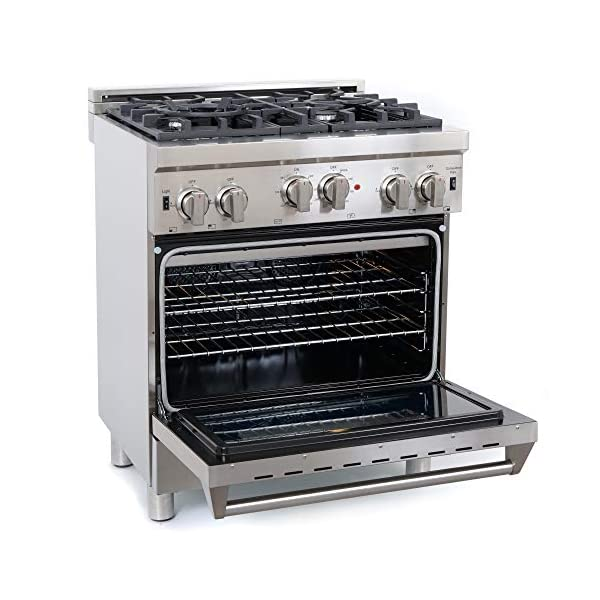 Cosmo GRP304 30 in. Freestanding/Slide-in Gas Range with 4 Sealed Burner Rangetop, Rapid Convection Single Oven, Heavy… 4