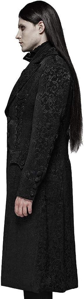 Punk Rave Uomo Nero Gotico Vintage Jacquard Trench Coat Inverno Medium Long Jacket Party Uniform Nero ONJGo