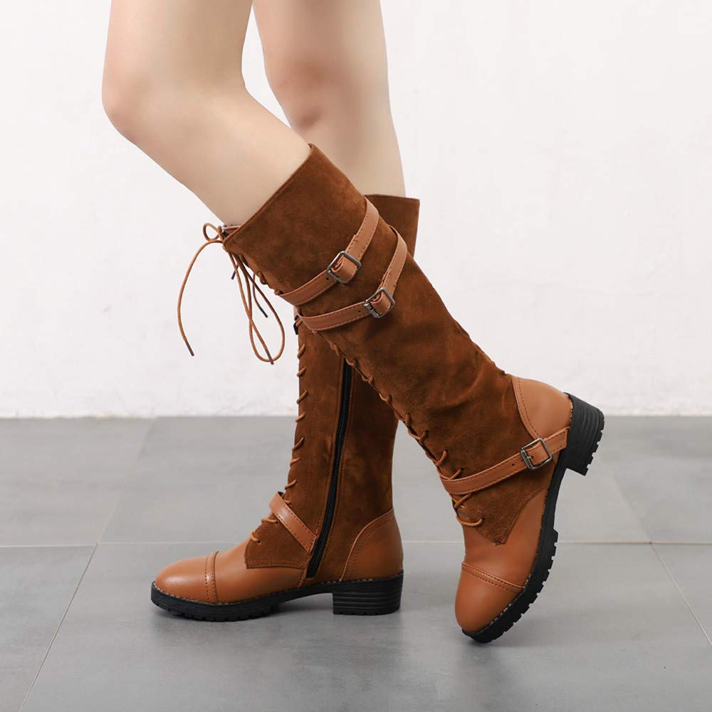 ZODOF Botas Planos Alto Top de Medieval Style para Mujer,Botas de Estilo Militar Medio de Moda Zapatos de Mujer de Hebilla de Cuero Artificial ...