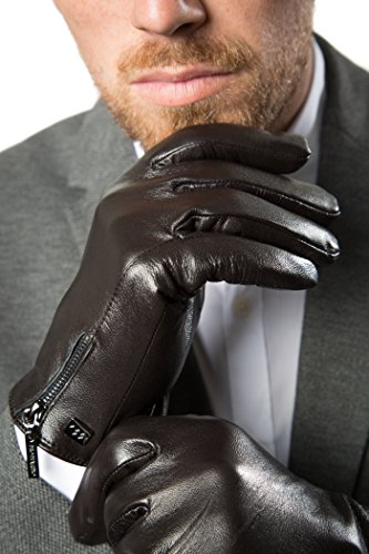 Avenue Leather Gloves (Luxury Dress Napa Leather Winter Gloves - Texting - Touchscreen – Cold Weather - Driving – Waterproof - Fleece Liner - Dark chocolate Zipper Design - Large)