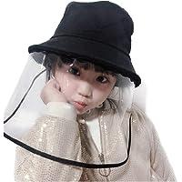 Anti-Saliva Protective Cap Windproof Full Face Shields Anti-dust Head Protector Stylish Fisherman Hat (Kids) (Black)