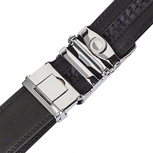 Ratchet Leather Belts, Yamissi Leather Belt for Men, with Automatic Buckle, Dress Belt fits for Waist Size 28